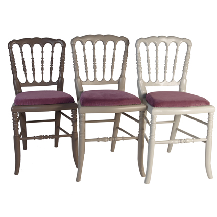 Set de 3 chaises Napoléon marrons